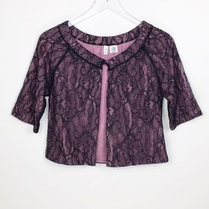 Moth Anthropologie Lace Short Sleeve Cardigan